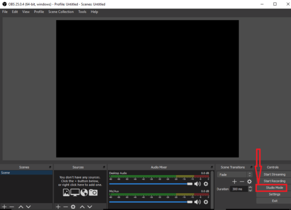 OBS screen capturing tool interface