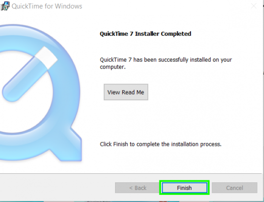 Quicktime Successfully Installed on Windows PC
