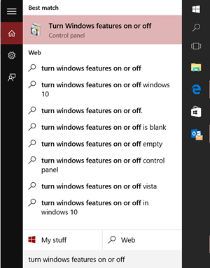 Turn Windows Feature On or Off on PC