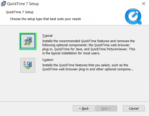 Quictime Installation type Selection
