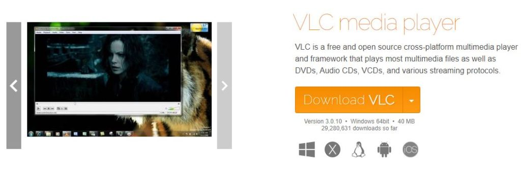 VLC Media Player for Windows 10 Download Page