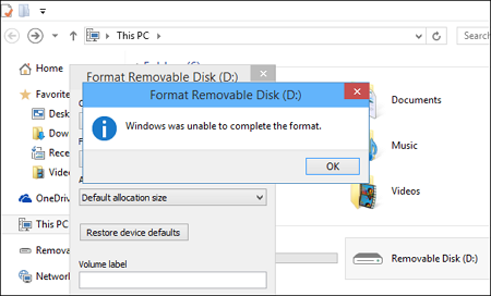 Windows Was Unable To Complete The Format