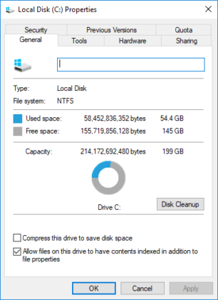 Running Disk Cleanup on PC
