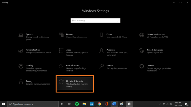 12.Check for Windows updates interface