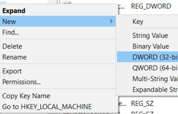Create new values in Registry interface